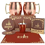 Krown Kitchen - Hammered Moscow Mule Copper Mug Set of 2   Stainless Steel Lining   16 oz