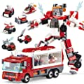 MIEBELY Storage Transform Fire Truck – 6-in-1 Building Blocks STEM Toy for Toddlers – Educational Brick Toys Ages 6 and Up – Learning Building Block Robot with Storage Box