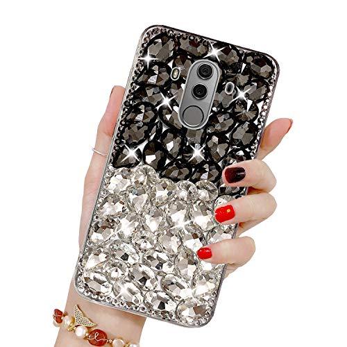 Misstars Luxe Diamant Coque pour Huawei Mate 10 Pro, Transparente Bling Glitter Housse de Protection Souple TPU et Hard PC Arrière Antichoc Anti-Rayures pour Huawei Mate 10 Pro, Noir+Argent