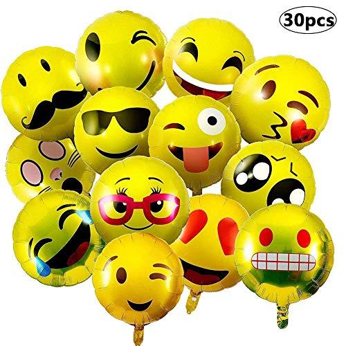 NALCY 30 Stück Emoji Party Luftballons, 18 Inch Emoji Ballons Folienballon Helium Luftballons Lustige Freche Smily Emoji für Hochzeit, Party, Geburtstag Dekoration