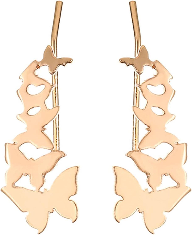 NEISHUI Butterfly Crawler Cuffs Studs Earrings for Women Girls Climber Wrap Earring Fashion Dainty Jewelry Birthday Gifts