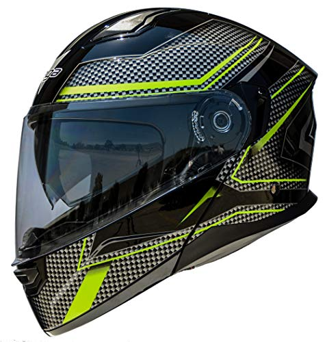 Vega Helmets Unisex-Adult Flip-Up Caldera 2 Modular Motorcycle Helmet w/Sunshield & Custom Fit (Hi-Vis Blade Graphic, Large)