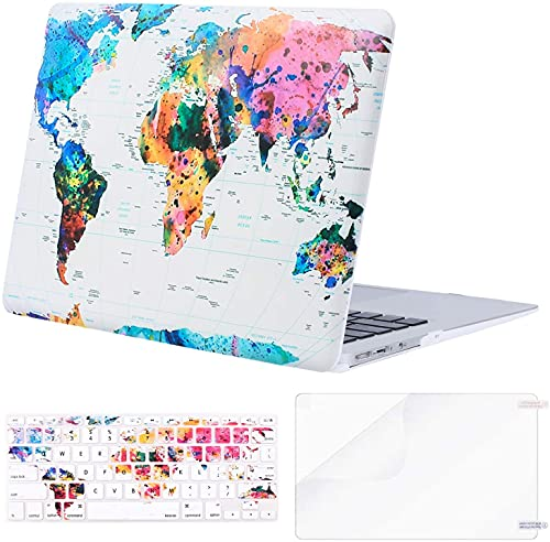 MOSISO Compatible with MacBook Air 11 inch Case (Models: A1370 & A1465), Plastic Pattern Hard Shell Case & Keyboard Cover Skin & Screen Protector, World Map