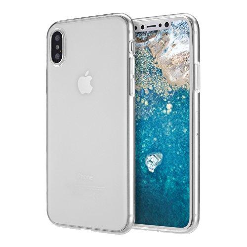 doupi UltraSlim AllClear Custodia per iPhone X (iPhone 10) [ Carica Senza Fili supportata ] TPU Silikon, Satinato fine Piuma Facile Mat Semi Trasparente Cover, Trasparente