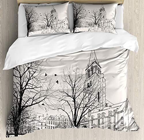 ABAKUHAUS Parijs Dekbedovertrekset, Wandelen Mensen Winter, Decoratieve 3-delige Bedset met 2 Sierslopen, 200 cm x 200 cm, Kokosnoot en Black