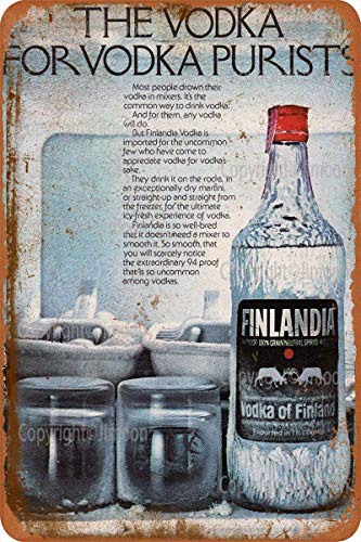 No/Brand Finlandia The Vodka For Wodka Puristen, Eisenmalerei, Blechschild, Wandschild, Vintage, dekoratives Poster, Warntafel, dekoratives Zimmer, Club, Garten, Parkplatz (20,3 cm B x 30,5 cm H)