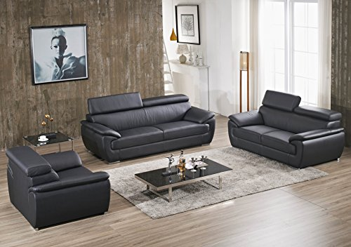 Design Voll-Leder-Sofa-Garnitur-Polstermöbel-Sessel 4571-3+2+1-S