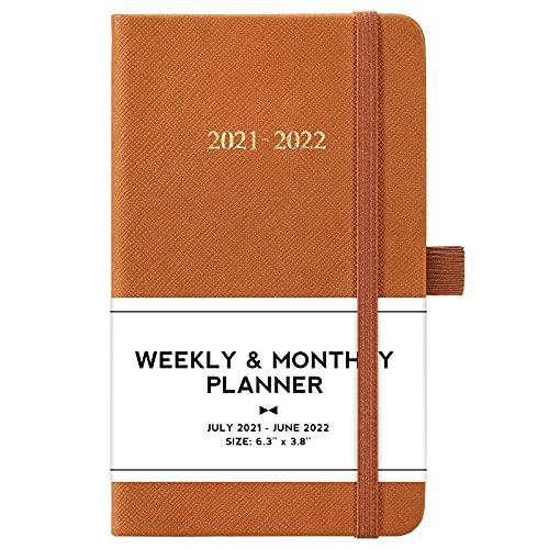 2021-2022 Pocket Planner/Calendar - Jul 2021 - Jun 2022, Weekly & Monthly Pocket Planner 2021-2022, 6.3''×3.8'', Pen Loop, Pocket, Book Markers, Elastic Closure, Note Pages, Agenda Planner