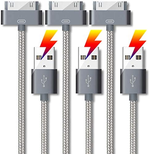 USB Phone Charger 3 Pack 5 Feet 30 Pin Fast Charge Sync Nylon Cable for iPhone 4 4S iPad 1 2 product image