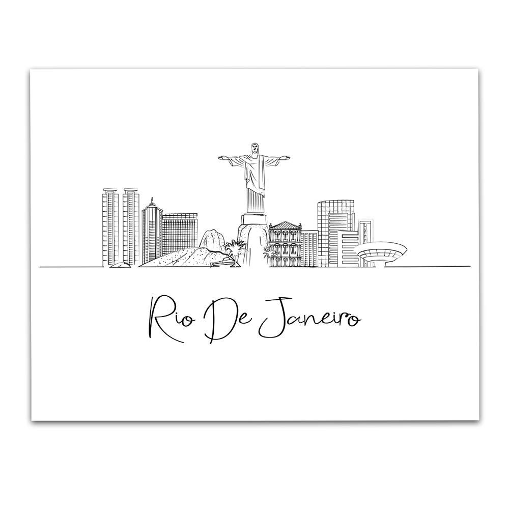 Rio de Janeiro famous Popular shop is the lowest price challenge Brasil Hand Illustrated Skyline - Decor Wall Art