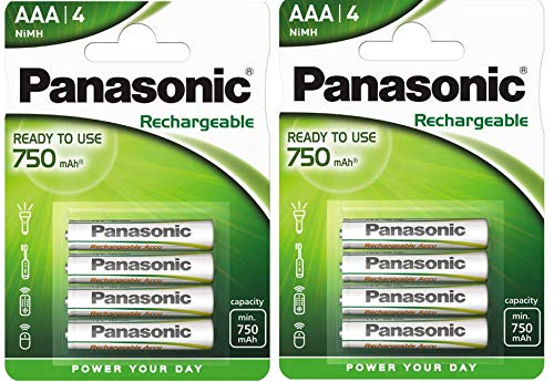Panasonic P03E AAA-Akkus (geladen und betriebsbereit, 750 mAh, NiMh) 8 Stück