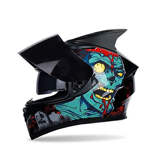 MOTUO Motorradhelm Integralhelm Unisex Helme mit Schwarzem Verspiegeltem Visier Oder Klarem Visier,Schwarz,L