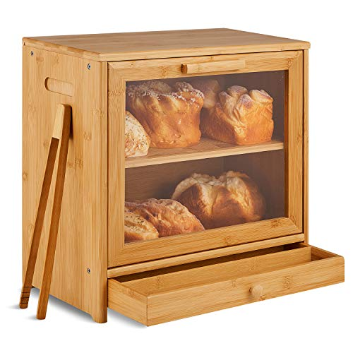 NOVAYEAH Bamboo Bread Box for Kitchen Counter, 2 Adjustable Layer Wooden Bread Bin with Acrylic Glass Window and Storage Drawer, Countertop Bread Shelf, Large Capacity Bread Holder