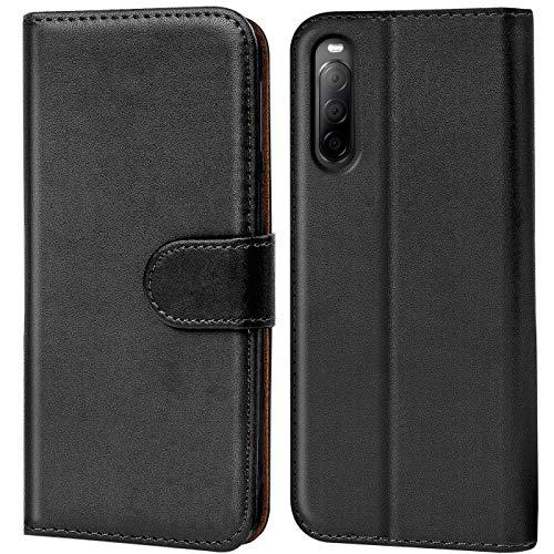 Verco Sony 10 II 2 Hülle, Handyhülle für Sony Xperia 10 II Tasche PU Leder Flip Hülle Brieftasche, Schwarz