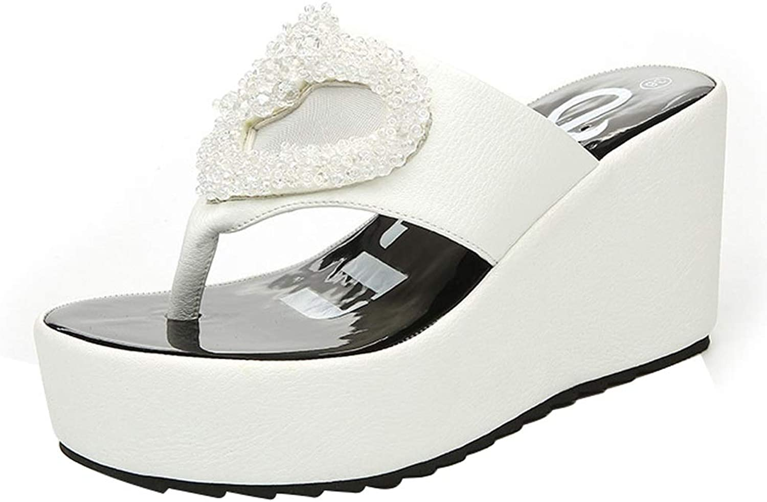 Sandals and Slippers Women Wear Summer Fashion High-Heeled Flip-Flops Platform Slippers Summer Wear Beach shoes Beach (color   White, Size   35-225mm)