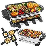 Raclette Grill con Parrilla Barbacoa 8 Personas 2 en 1 Plancha Grills Raclettes Electrica Antiadherente sin humo Control de Temperatura Ajustable Incluye 8 Mini-Sartenes, 1300W