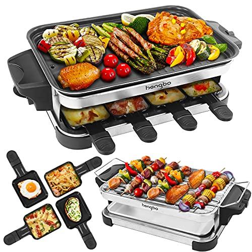 Raclette 8 Personen Elektrogrill 2 in 1 Raclette Grill mit Antihaftbeschichtung Raclette Tischgrill Elektrisch mit Auffangschale, Grillen im Haus, auf Dem Balkon Oder im Garten, 1300W
