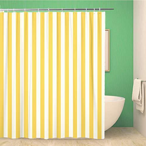 Awowee Dekorativer Duschvorhang, gestreift, gelb, Nachtwäsche, Muster, zweifarbig, 180 x 180 cm, Polyester-Stoff, wasserdicht, Badvorhang-Set mit Haken für Badezimmer
