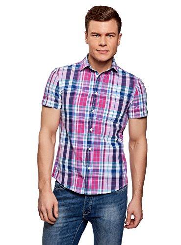 oodji Ultra Hombre Camisa a Cuadros con Bolsillo en el Pecho, сm 42,5 / ES 52-54 / L
