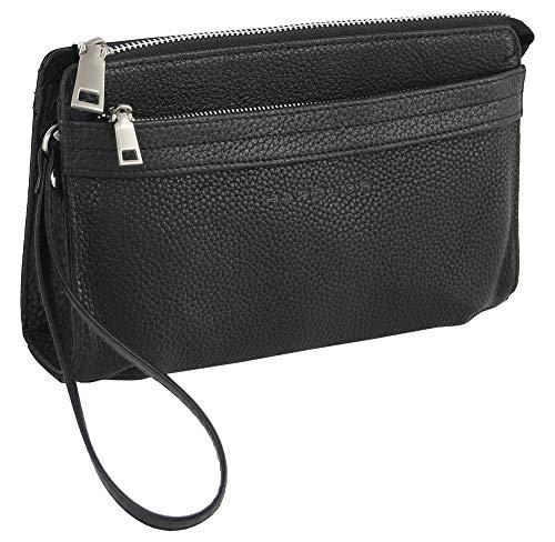 HAROLD\'S Echtleder Handgelenktasche mit abnehmbarer Schlaufe - praktische Herren-Handtasche aus weichem, hochwertigem Leder (schwarz)