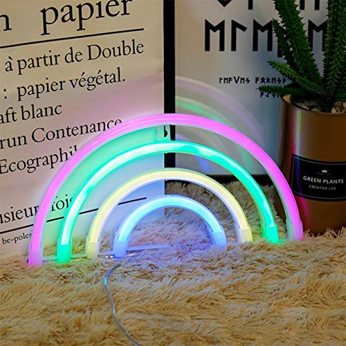 Letrero luminoso arco iris, luz nocturna al neón arco iris, luz con forma de neón y arco iris, con batería de doble función, para decoración de pared para Navidad, bodas, fiestas