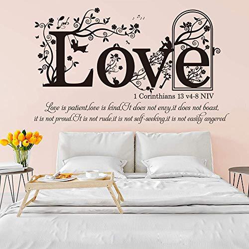 1 Corintios 13v 4-8 NVI Versículo bíblico cristiano Etiqueta de la pared Dormitorio Sala de estar Religión Familia Amor Cita Tatuajes de pared 94 * 56cm