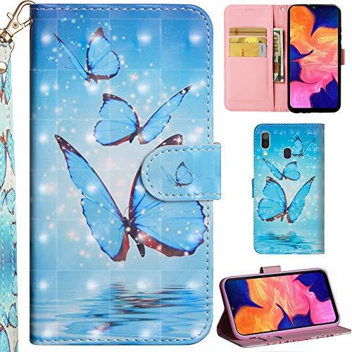 DodoBuy Samsung Galaxy A40 Hülle 3D Flip PU Leder Schutzhülle Handy Tasche Wallet Hülle Cover Ständer mit Trageschlaufe Magnetverschluss für Samsung Galaxy A40 - Blau Schmetterling