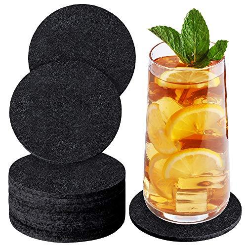 Sidorenko Filz Untersetzer rund für Gläser - 10er Set - Design Glasuntersetzer in dunkelgrau für Getränke, Tassen, Bar, Glas - Premium Tischuntersetzer Filzuntersetzer