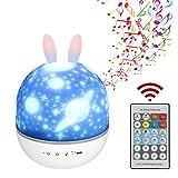 Star Night Lights, lindo conejo recargable proyector de luz de noche estrellada para niños, con control remoto y diseño de temporizador, proyector de luz de noche para bebé con rotación de 360 grados