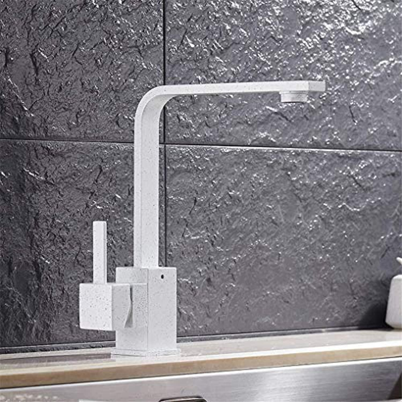 Quartz Stone Kitchen Faucet Square 360 Degree Rotation Kitchen Mixer Taps Aerator Deck Mounted Single Lever Retro