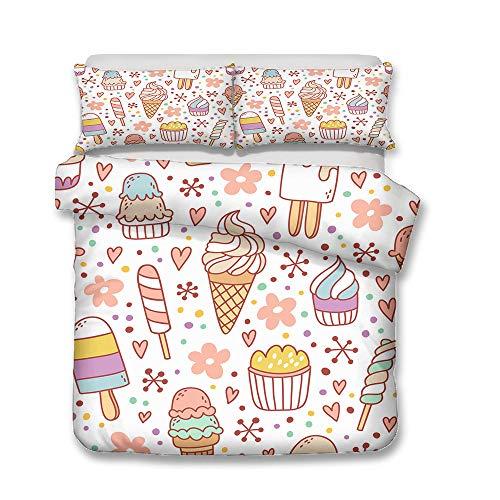 Juego de ropa de cama de franela con diseño de helado y bebida fría, 3 piezas, tamaño A4, 140 x 210 cm + 50 x 75 cm x 2