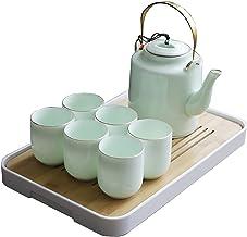 Japanse Thee Cup Set, Porselein Theeset, 6 × Kopjes, 1× Theepot, 1×Tray, Aziatische Theeset, voor Thee Lover/Vrouwen/Manne...