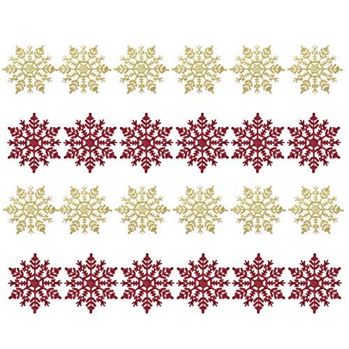 Amosfun 24 stks Kerstmis Sneeuwvlok Ornament Plastic Glitter Sneeuwvlok voor Ophangen Ornament Kerstboom raamdecoratie (Rood Gouden)