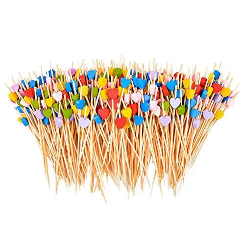 Kaxofang 200 Piezas de Palillos de CóCtel de 4.7 Pulgadas SeleccióN de Bambú Hecha una Mano en Forma de CorazóN Palillos de Fruta de la Magdalena del Buffet para la DecoracióN de la Boda