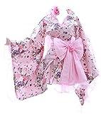 H-532 - Disfraz de kimono japonés con flores rosas Wa-Qi Lolita (tamaño XXL)