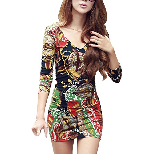 CRAVOG Longshirt Sexy V-Ausschnitt Langarm Kleid hip Abendkleid Ballkleid Minikleid