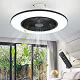 IYUNXI Ceiling Fan with Lights,22 Inch Enclosed Low Profile Ceiling Fan,Invisible Blades Flush Mount Ceiling Fans Chandelier for Kids Bedroom,Round 3-Color Dimming LED Light,3-Gear Wind Smart Timing