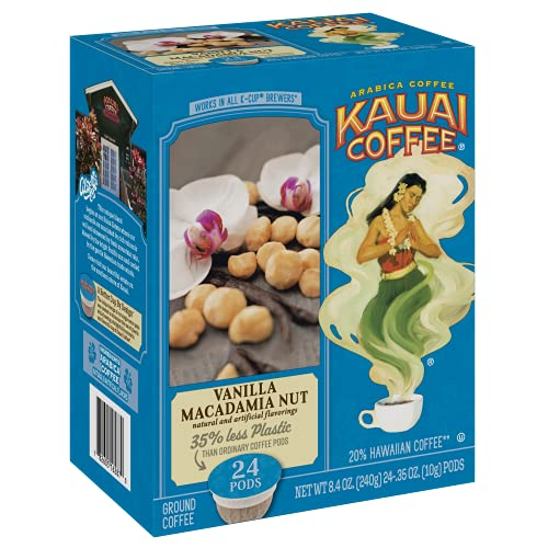 Kauai Coffee Single Serve Pods, Vanilla Macadamia Nut Flavor (24 Count) – 100% Arabica Coffee from Hawaii's Largest Coffee Grower, Compatible with Keurig K-Cup Brewers