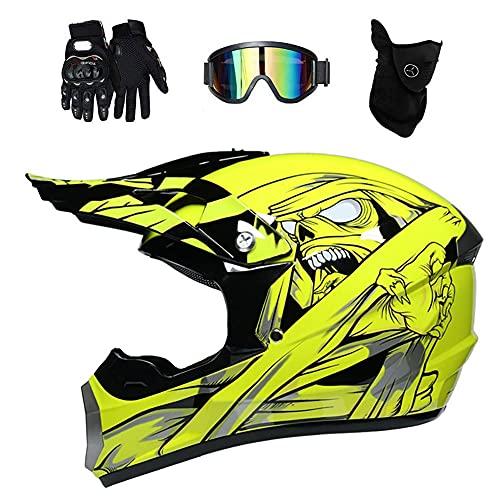 Conjunto de casco de motocross unisex todo alrededor, con guantes de máscara de gafas, cara completa MTB Motocicleta de carretera CANAL DE TELEVISIÓN BRITÁNICO Cascos de la scooter, cuesta abajo endur
