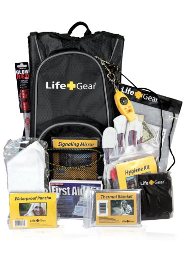 Life Gear LG492 Emergency Survival Kit Backpack w/Emergency Gear & First Aid Kit, black & gray, one...