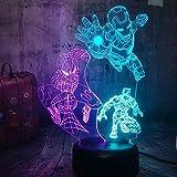 Lámpara de ilusión 3D, Marvel Iron Spider Man, Black Panther LED Night Light 3D Mixto Dual 7 Color, Lámpara de mesa para dormir Decoración navideña Regalos