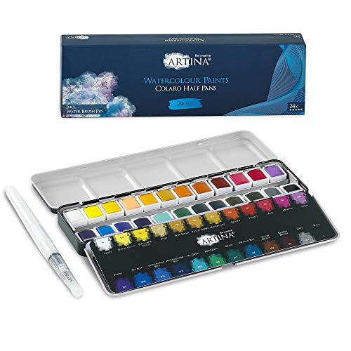 Artina 𝐂𝐨𝐥𝐚𝐫𝐨 Farbkasten Aquarellfarben 24 Set Wasserfarbe Malkasten Metallkasten mit Aquarell Näpfchen Wasserfarben Malset und Wassertankpinsel - Pinselstift