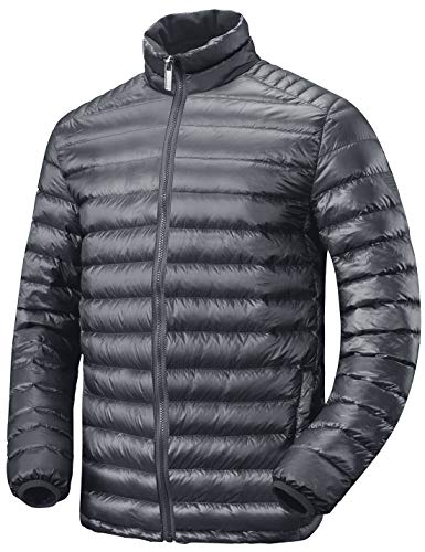 Lesmart(レスマート) ダウンジャケット メンズ コート ウルトラライトダウン 防寒 登山 防風 軽量 暖かい アウトドア ライトダウン 冬 ダークグレー1 M