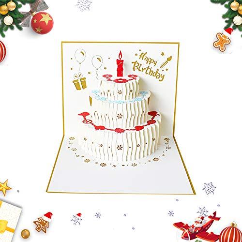 3D Pop-Up-Grußkarten,Pop-Up Karte Weihnachten Karten,weihnachtskarten,Klappkarten Grußkartenfür Frohe Weihnachten,Weihnachten Karten personalisiert,Klappkarten,Grußkarten(Kuchen golden)