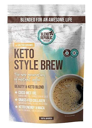 Keto Style Brew (Salted Caramel) - Keto Coffee mit ⍟ Arabica - Kokosöl - MCT-Öl - Collagen ⍟ Kollagenpeptide - Keto Kaffee für Low Carb Diät - 220g für 22 Tassen
