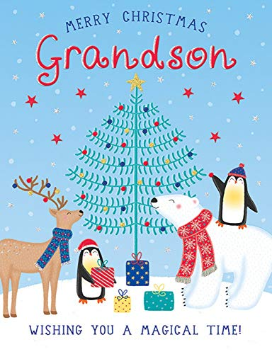Traditional Christmas Card Grandson - 8 x 6 inches - Piccadilly Greetings