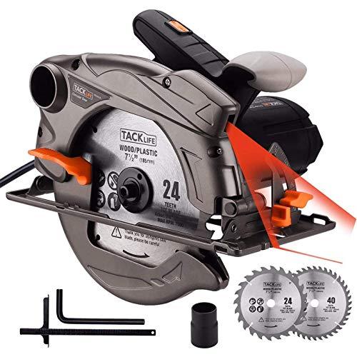 TACKLIFE 1500W 4700RPM Scie Circulaire, 2 Lames Ø185mm (40T&24T) et Compatible avec 190mm, Capacité de Coupe : 63mm (90°), 45mm (45°), Protecteur en Aluminium, Moteur en Cuivre Pur