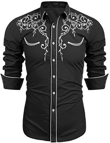 COOFANDY Men's Long Sleeve Shirt Embroidery Slim Fit Casual Button Down Shirt, 01-black, Large