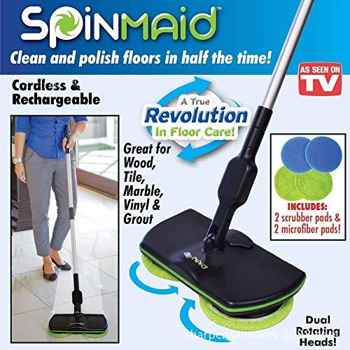 All Shop Bezem Maid polish voor vloeren, microvezel, vangt 2 roterende koppen op, verwijdert vuil, stof, draadloos, schoon en gepolijst.