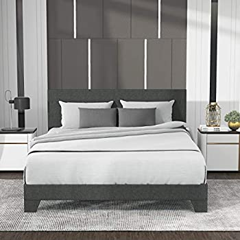 Allewie Full Size Upholstered Platform Bed Frame with Headboard / Mattress Foundation / Wood Slat Support / No Box Spring Needed / Easy Assembly Dark Grey Fabric